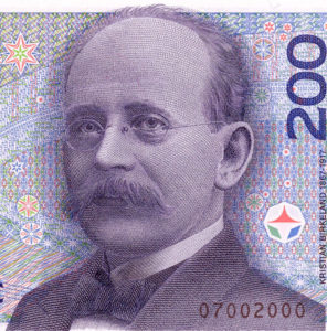 Kristian Birkeland bank note portrait